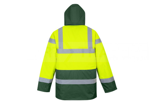 Hi-Vis Traffic Jacket - Hi-Vis Yellow/Green Bottom Back