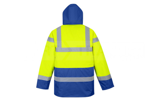 Hi-Vis Traffic Jacket - Hi-Vis Yellow/Royal Blue Bottom Back