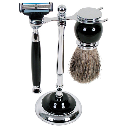 3012 Mach 3 Shave Set Black w/Badger