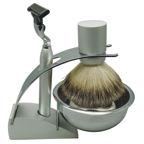 3083 Mach 3 Shave Set Silver Badger