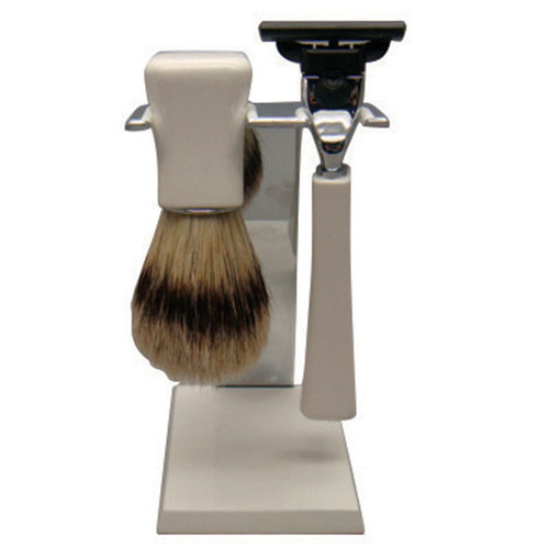 3087 Mach 3 Shave Set White Bristle