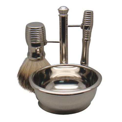 3096 Mach 3 Shave Set & Bowl Nickel Badger