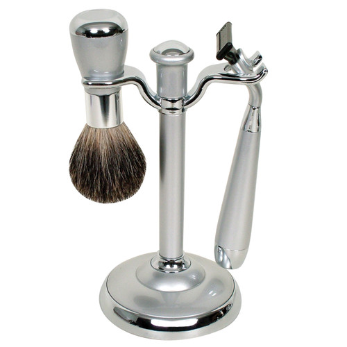 WG Shave Set Mach 3 Pewter/Chrome