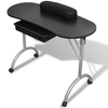 Online Gym Shop CB17276 Foldable Manicure Nail Table with Castors Black