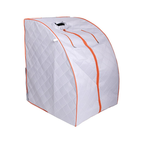 Aleko PIN11SY-UNB Personal Folding Portable Home Infra Sauna with Folding Chair & Foot Pad Silver & Orange