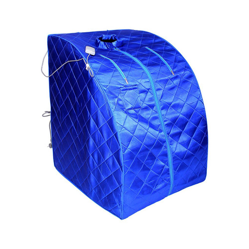 Aleko PIN11BL-UNB Personal Folding Portable Home Infra Sauna with Folding Chair & Foot Pad Blue