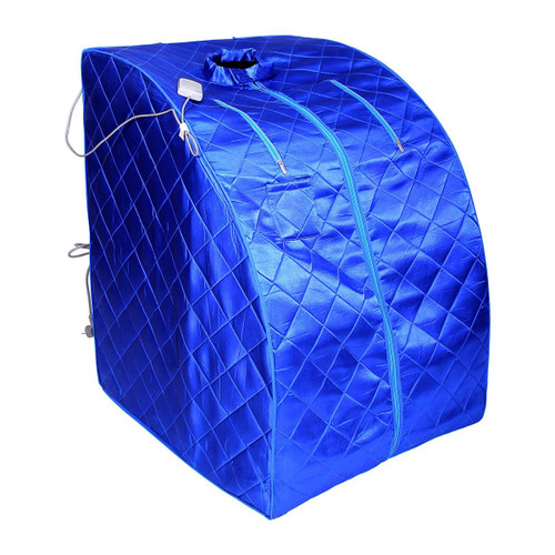 Aleko PIN15BL-UNB Personal Folding Portable Home Infra Sauna with Folding Chair & Foot Pad Blue