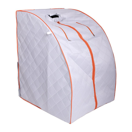 Aleko PIN15SY-UNB Personal Folding Portable Home Infra Sauna with Folding Chair & Foot Pad Silver & Orange
