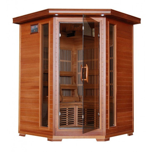 Heat Wave SA1312 Hudson Bay 3 Person Corner Carbon Cedar Heatwave Sauna