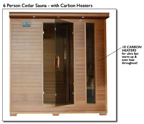 Heat Wave SA1323 Great Bear 6 Person Carbon Cedar Heatwave Sauna