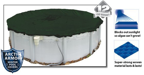 Arctic Armor WC801-4 12 Year 15' Round Above Ground Swimming Pool Winter Covers