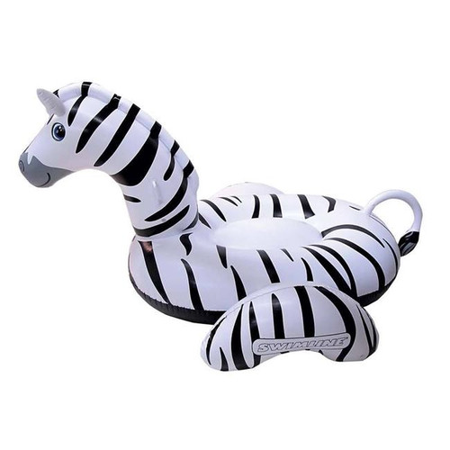 Blue Wave NT294 97 in. Giant Zebra Inflatable Ride on Pool Toy - Black & White