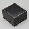Classic leatherette Black Large hoop Earring Box - CB358B