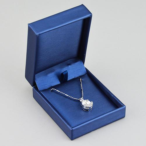 Blue Leatherette Pendant Box - 7521