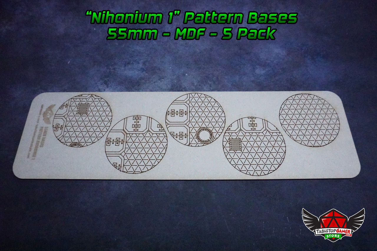 Nihonium 1 Pattern Bases - 55mm - MDF - 5 Pack