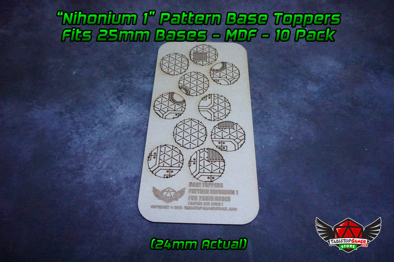 Nihonium 1 Pattern Base Toppers - Fits 25mm Bases - 24mm Actual - MDF - 10 Pack