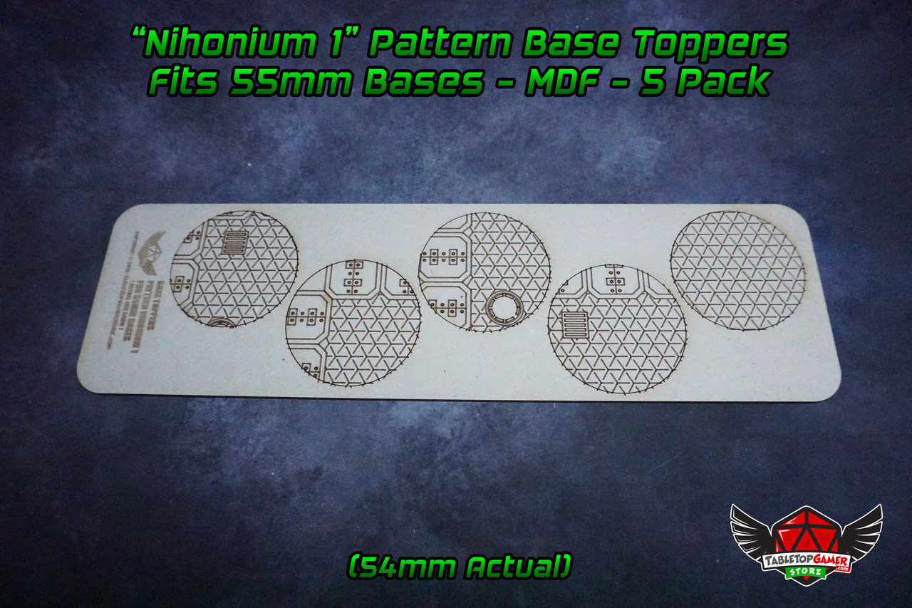Nihonium 1 Pattern Base Toppers - Fits 55mm Bases - 54mm Actual - MDF - 5 Pack