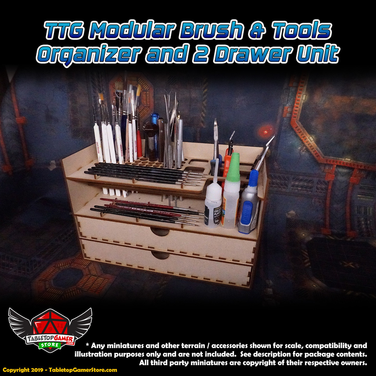 TTG Modular Hobby Brush & Tools Organizer and 2 Drawer Unit