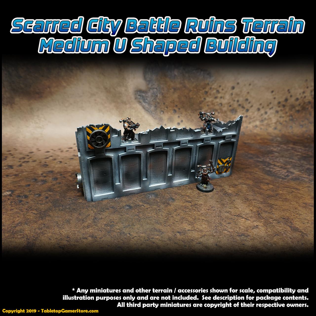Scarred City Battle Ruins Terrain - Medium U Shaped Building