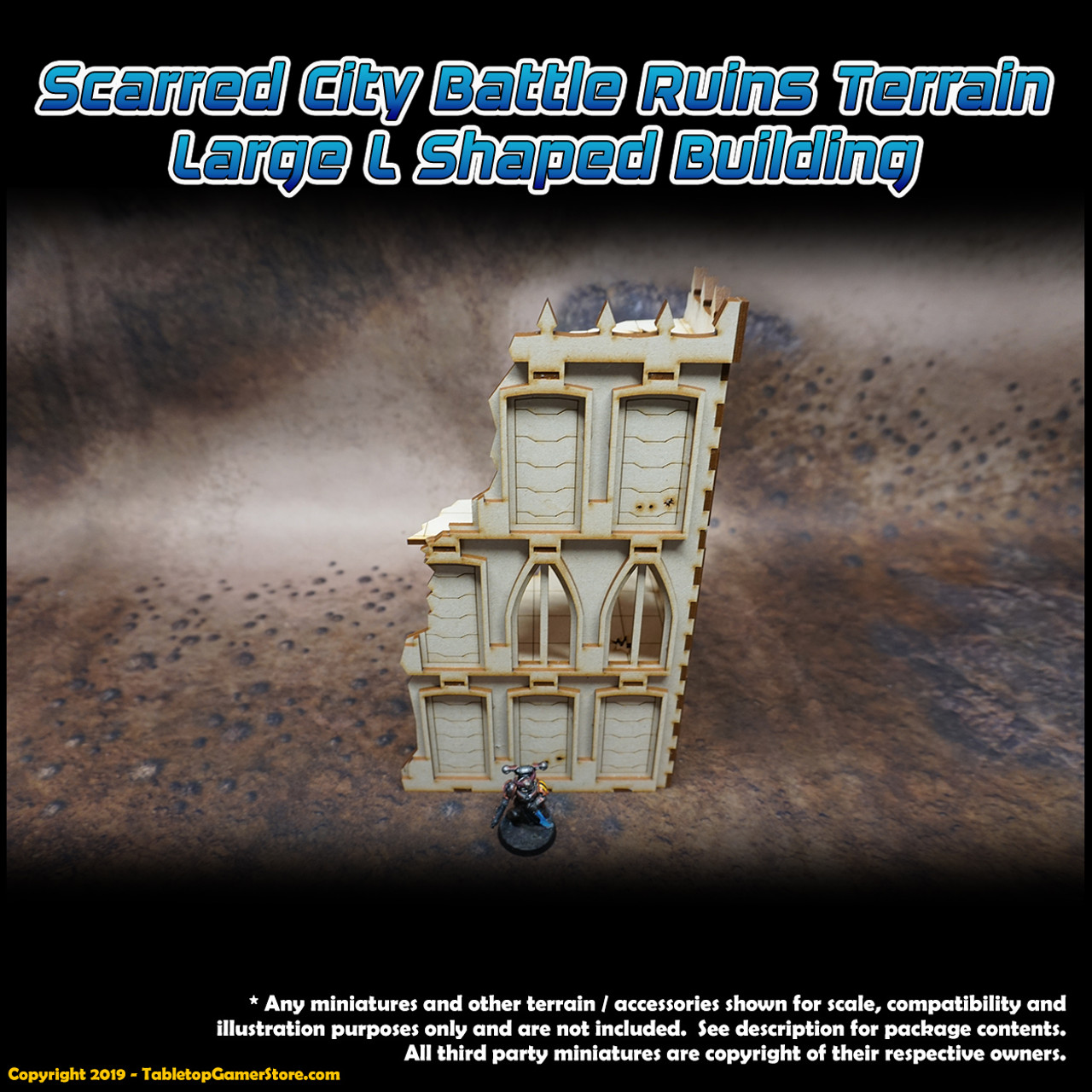 Scarred City Battle Ruins Terrain - Large L Shaped Building