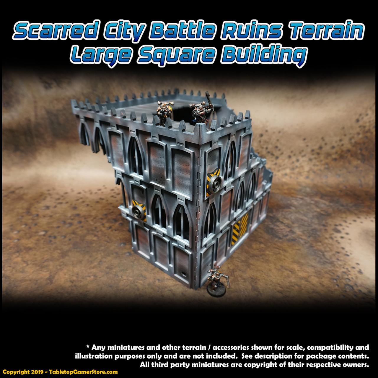 Scarred City Battle Ruins Terrain - Large Square Building