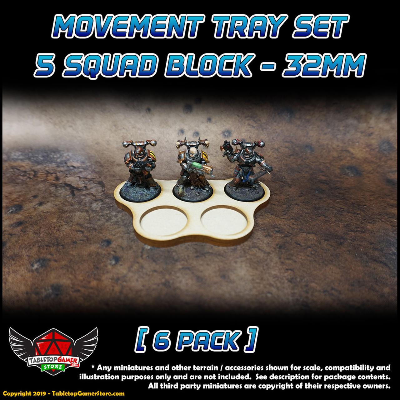 32mm Movement Tray Set - 5 Model Block - 6 Pack