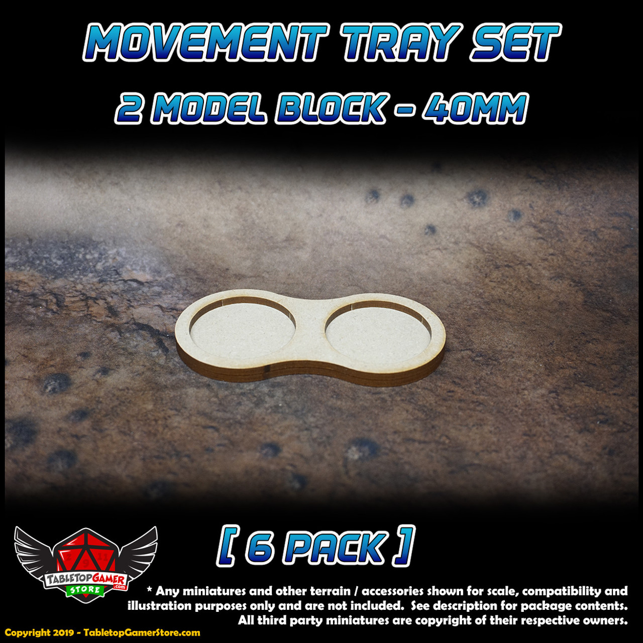 40mm Movement Tray Set - 2 Model Block - 6 Pack