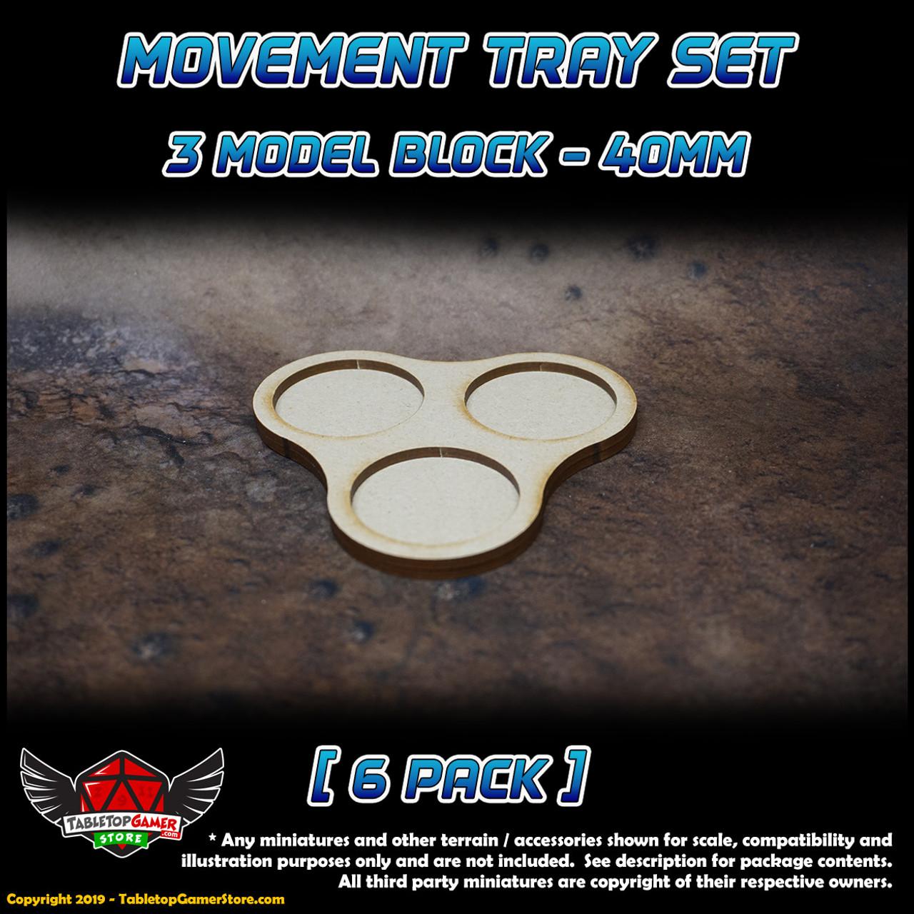 40mm Movement Tray Set - 3 Model Block - 6 Pack
