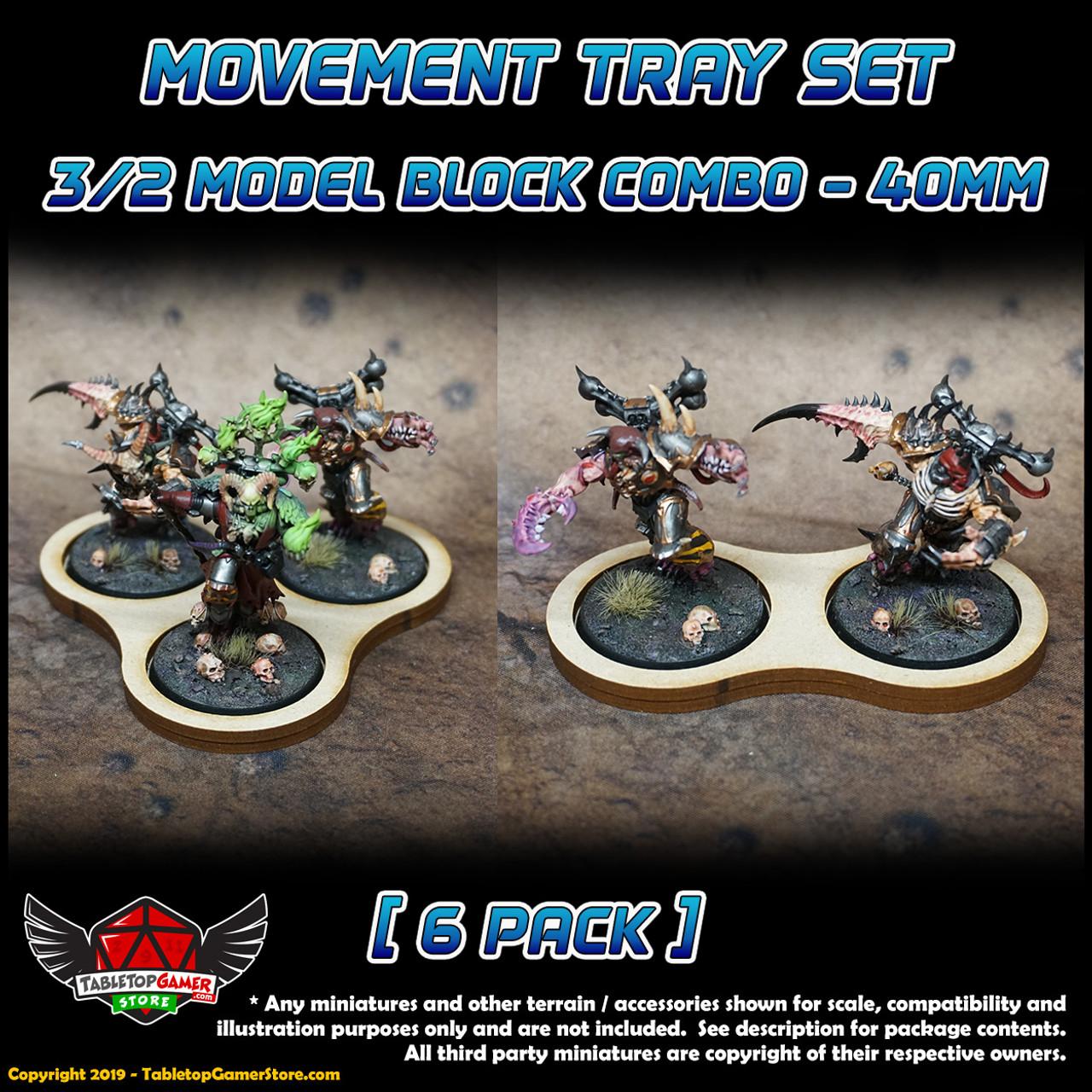 40mm Movement Tray Set - 3/2 Model Block Combo - 6 Pack