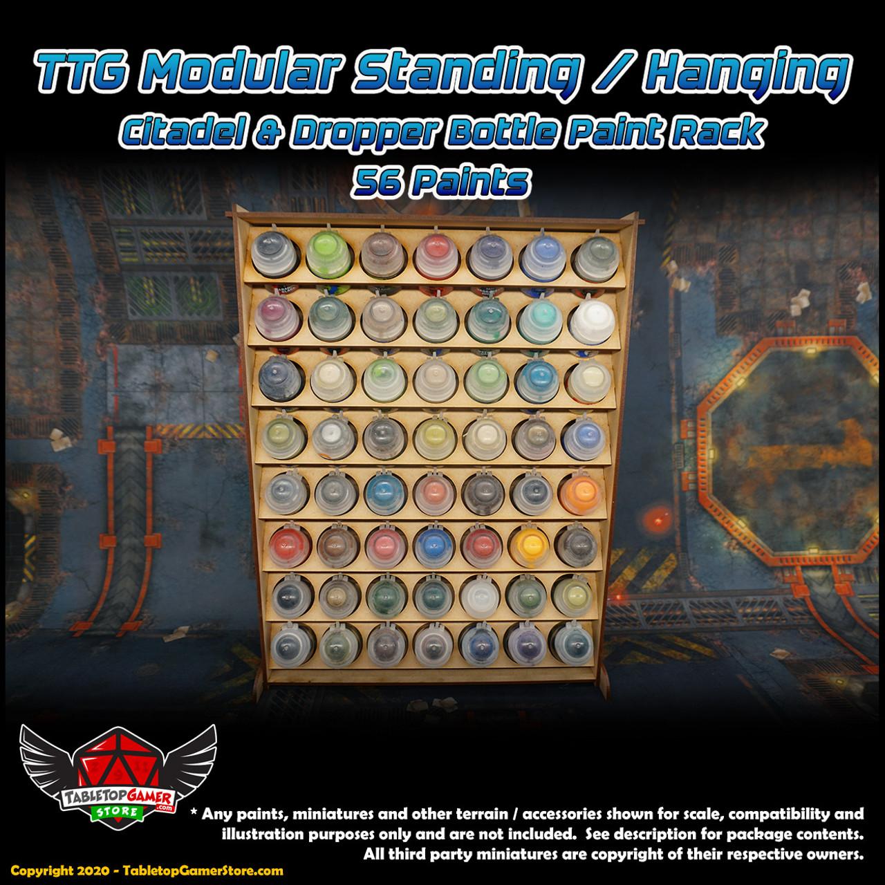 TTG Modular Standing/Hanging Citadel & Dropper Bottle Paint Rack - 56 Paints