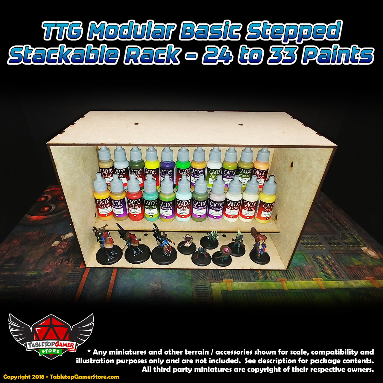 TTG Modular Basic Stepped Stackable Rack - 24 to 33 Paints