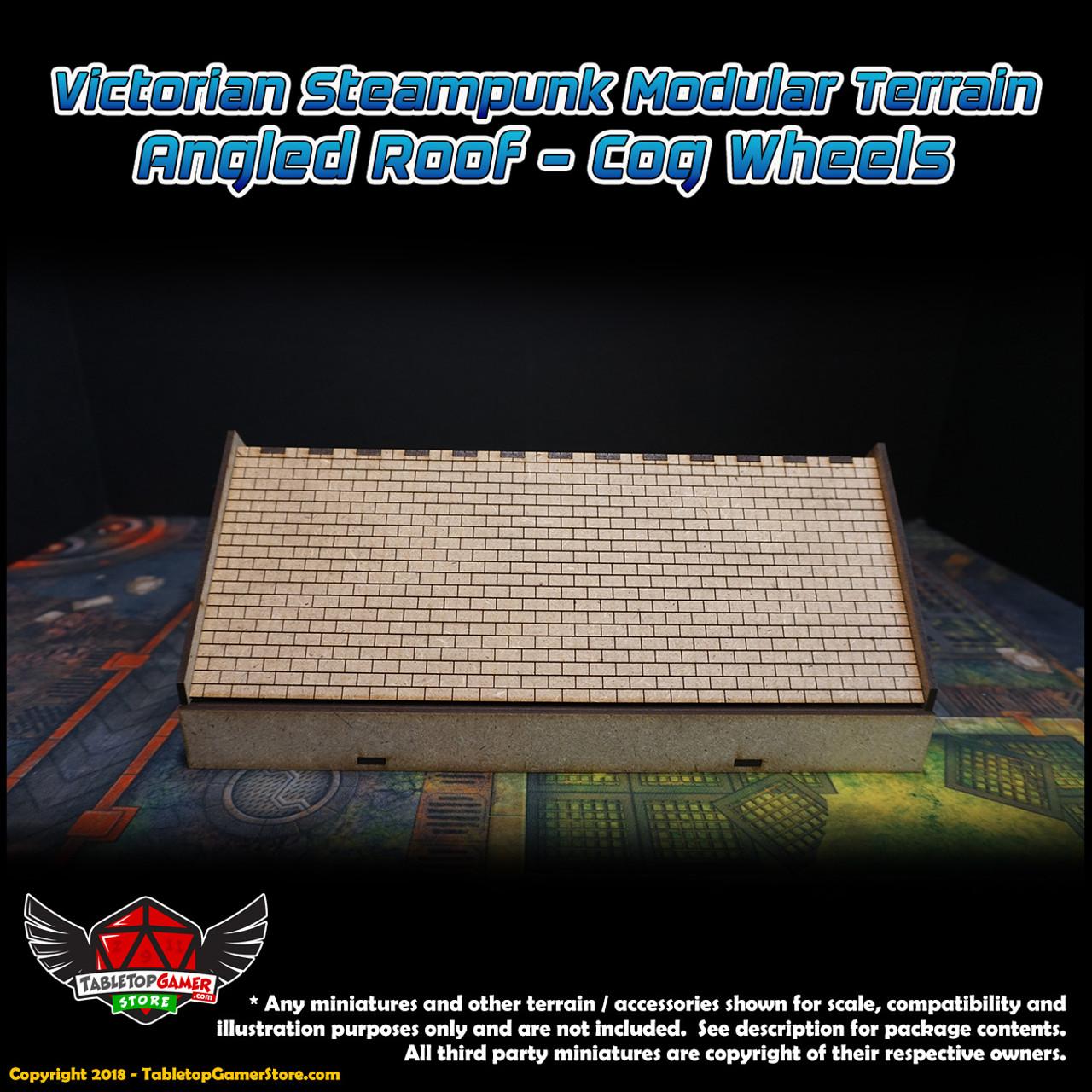 Victorian Steampunk Modular Terrain - Angled Roof - Cog Wheels