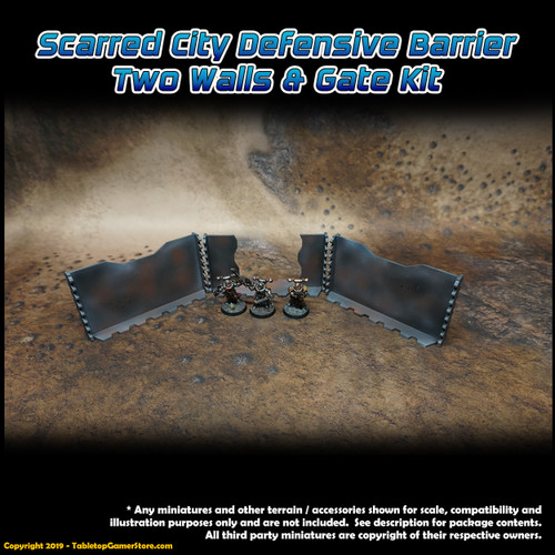Scarred City Defensive Barrier - 2 Walls and Gate Kit