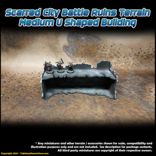 Scarred City Battle Ruins Terrain - Medium U Shaped Building