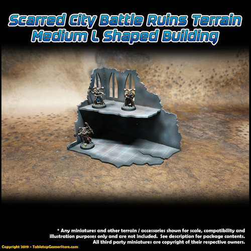 Scarred City Battle Ruins Terrain - Medium L Shaped Building