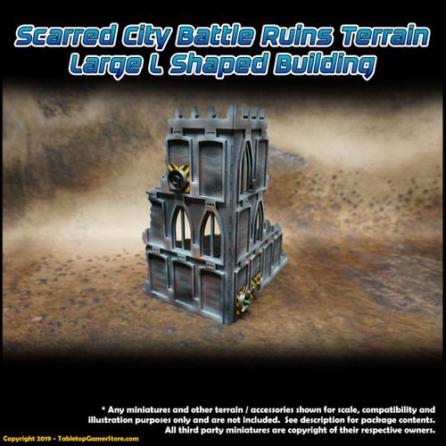 Scarred City Battle Ruins Terrain - Large L Shaped Building
