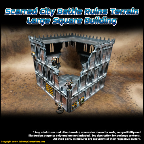 Scarred City Battle Ruins Terrain - Large Square Building