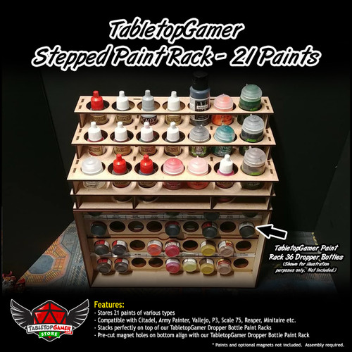 TTG Modular Stepped Universal Paint Rack - 21 Paints