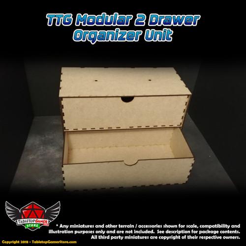 TTG Modular 2 Drawer Organizer Unit