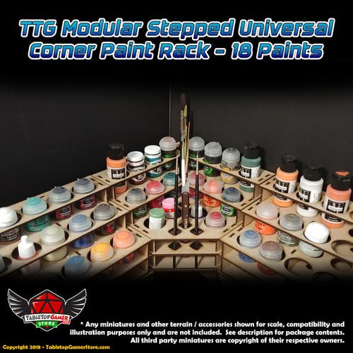 TTG Modular Stepped Universal Corner Paint Rack - 18 Paints