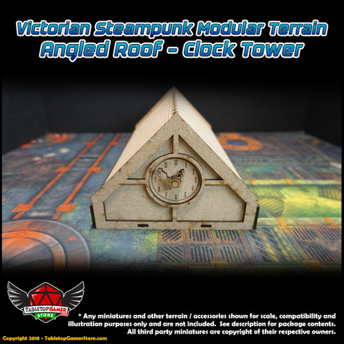 Victorian Steampunk Modular Terrain - Angled Roof - Clock Tower
