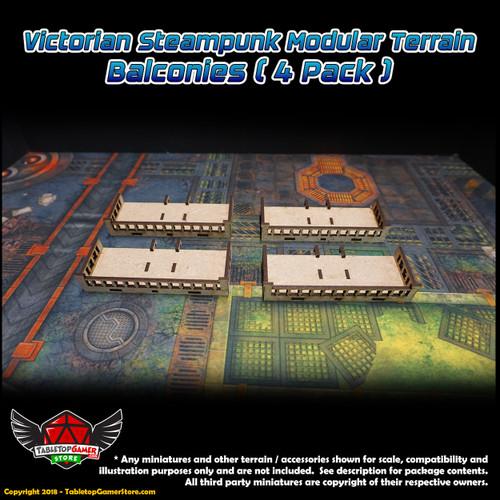 Victorian Steampunk Modular Terrain - Balconies (4 Pack)