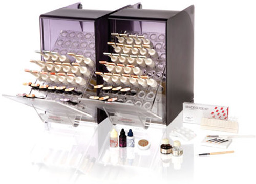 Contains: Ten shades (A1, A2, A3, A3.5, B2, B3, B4, C2, C3 and D3), 57 syringes and accessories.