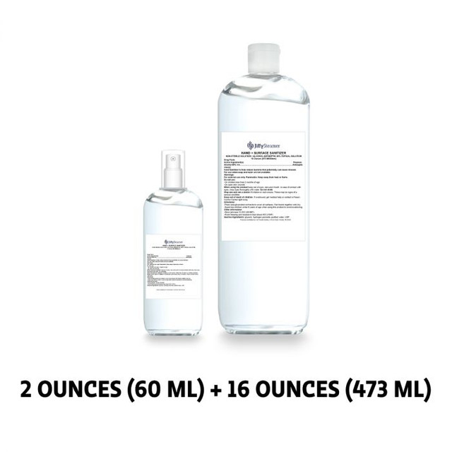 Hand + Surface Sanitizer - Bundle: 2 oz. with Spray Mist Top and 16 oz. Refill Bottle
