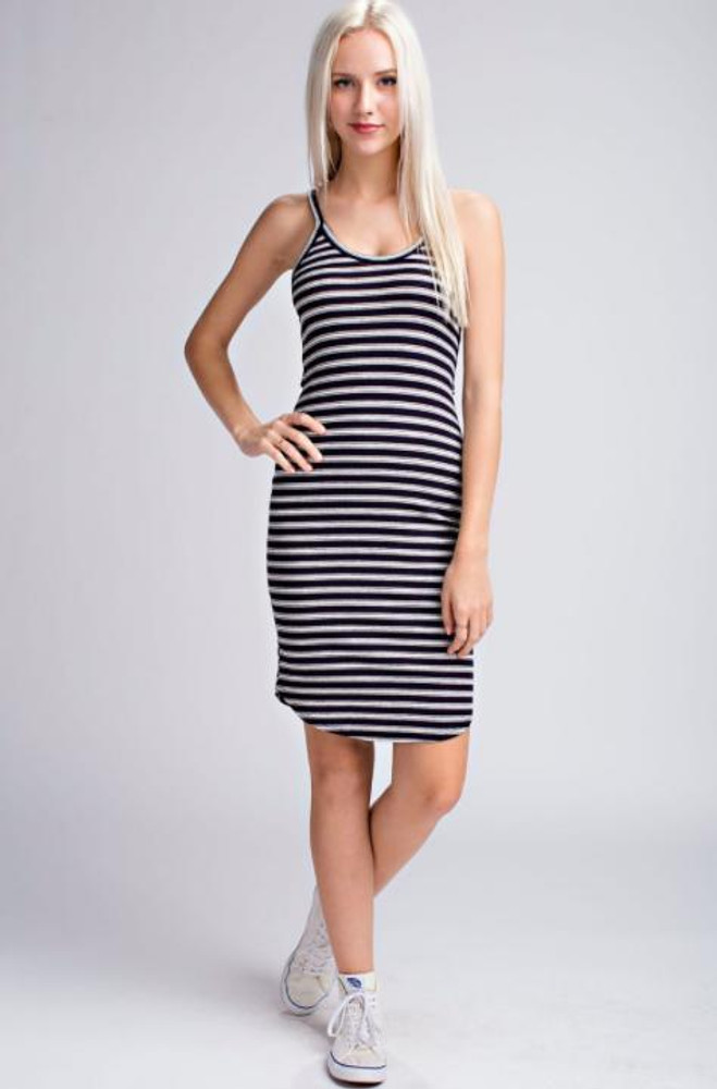 Navy and White Striped Tank Dress
