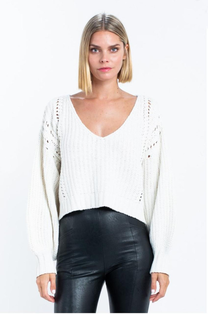 Ivory White Cropped, Balloon Sleeve Sweater