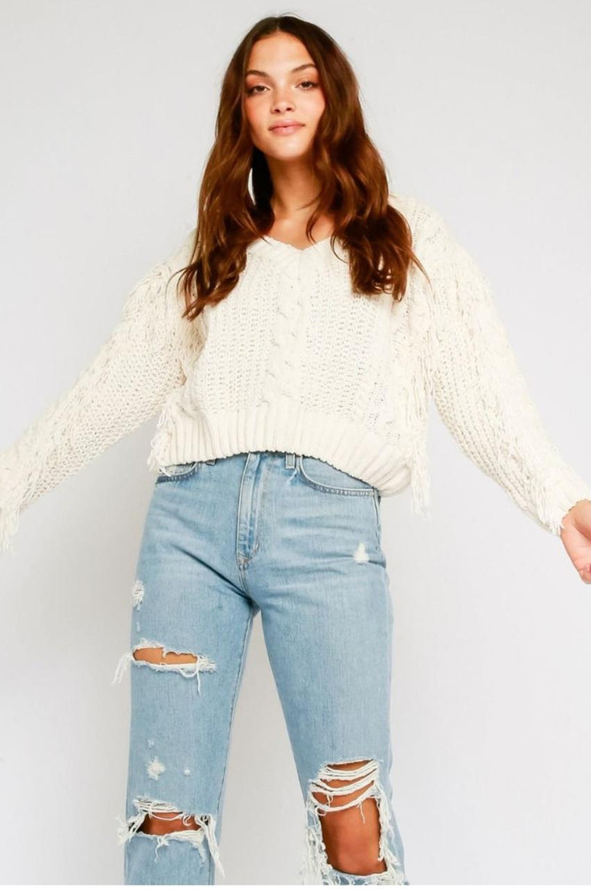 Ivory Chenille Cable Knit Fringe Sweater