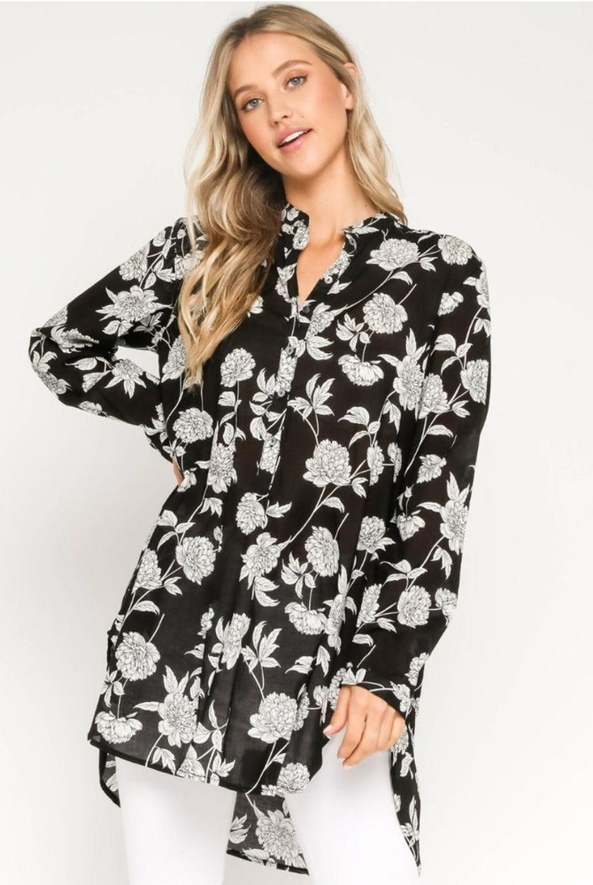 Black and White Floral Print Tunic Top