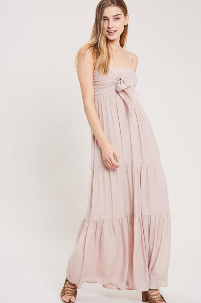 Falling In Love Tie-Front Tiered Blush Maxi Dress