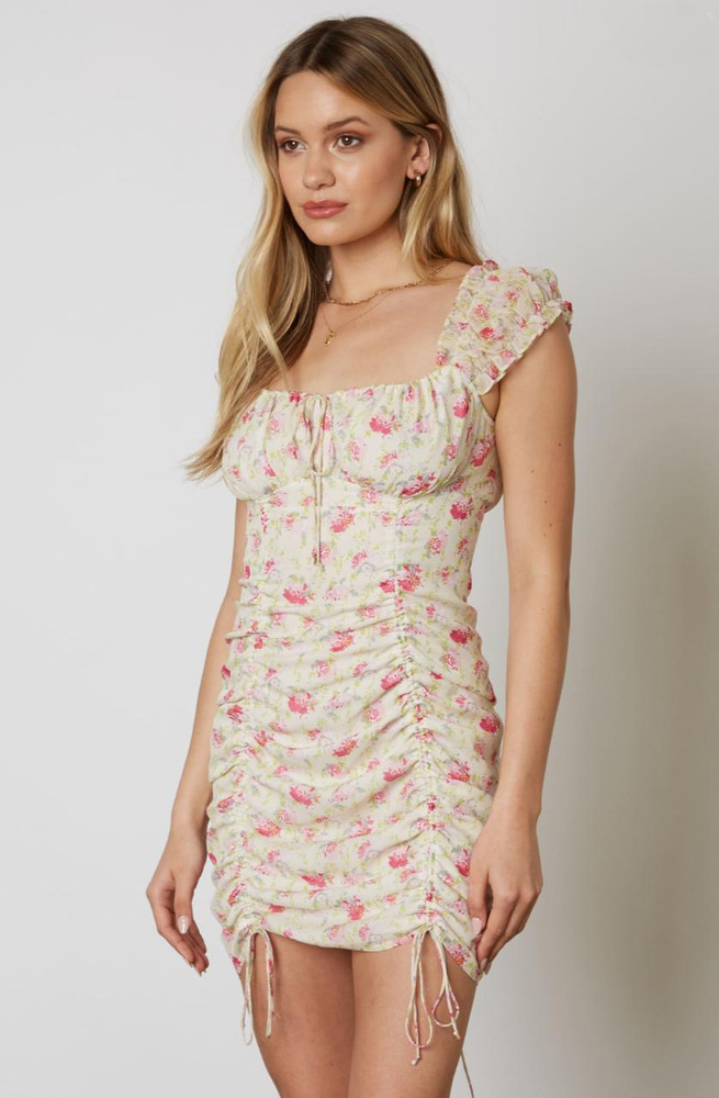 Cream Floral Ruched Drawstring Bodycon Dress